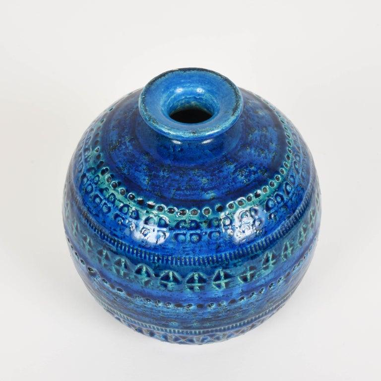 Pair of Aldo Londi Terracotta Ceramic Rimini Blue Vases for Bitossi, Italy 1960s For Sale 6