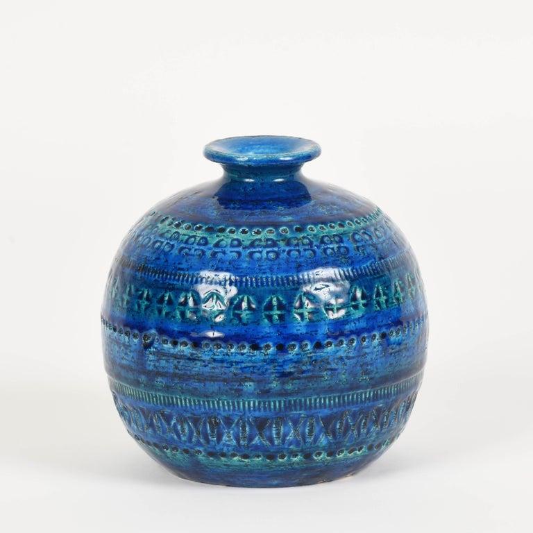 Pair of Aldo Londi Terracotta Ceramic Rimini Blue Vases for Bitossi, Italy 1960s For Sale 7