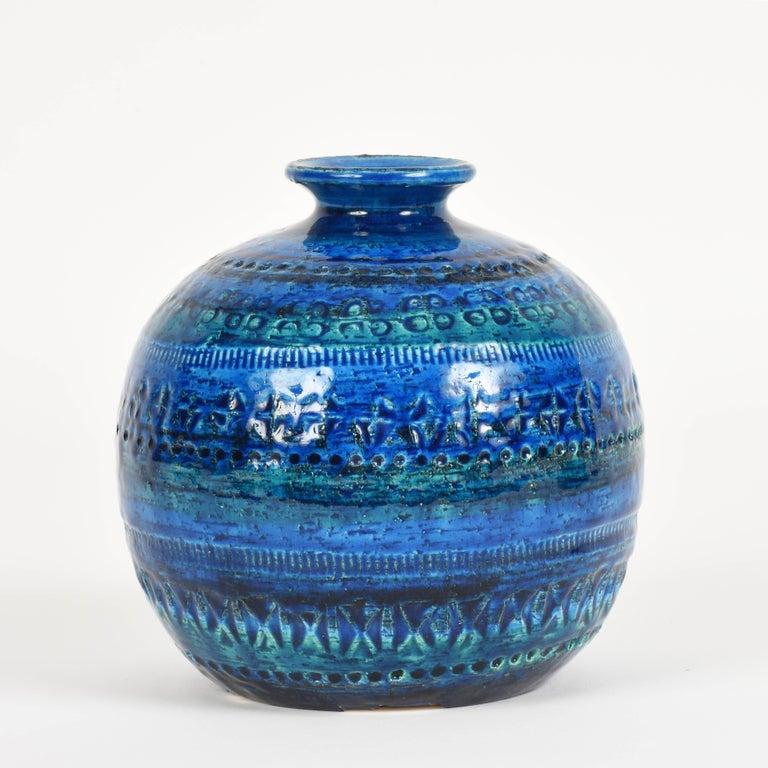 Pair of Aldo Londi Terracotta Ceramic Rimini Blue Vases for Bitossi, Italy 1960s For Sale 8