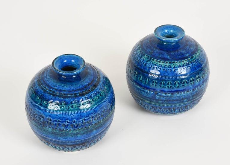 Pair of Aldo Londi Terracotta Ceramic Rimini Blue Vases for Bitossi, Italy 1960s For Sale 9