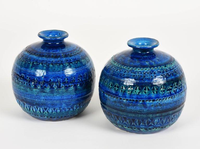 Pair of Aldo Londi Terracotta Ceramic Rimini Blue Vases for Bitossi, Italy 1960s For Sale 10