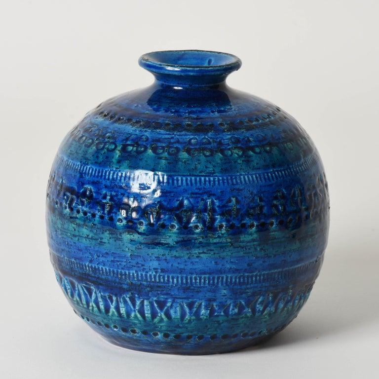 Pair of Aldo Londi Terracotta Ceramic Rimini Blue Vases for Bitossi, Italy 1960s For Sale 11