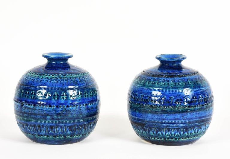 Pair of Aldo Londi Terracotta Ceramic Rimini Blue Vases for Bitossi, Italy 1960s For Sale 12