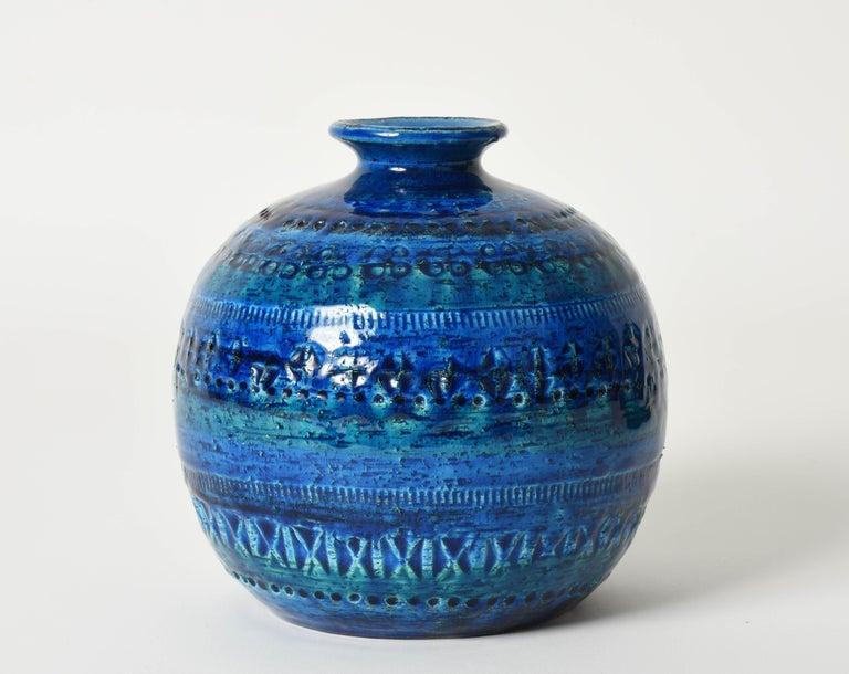 Pair of Aldo Londi Terracotta Ceramic Rimini Blue Vases for Bitossi, Italy 1960s For Sale 13