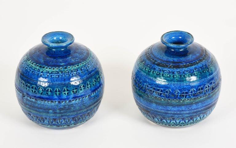 Mid-Century Modern Pair of Aldo Londi Terracotta Ceramic Rimini Blue Vases for Bitossi, Italy 1960s For Sale