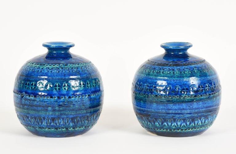 Italian Pair of Aldo Londi Terracotta Ceramic Rimini Blue Vases for Bitossi, Italy 1960s For Sale