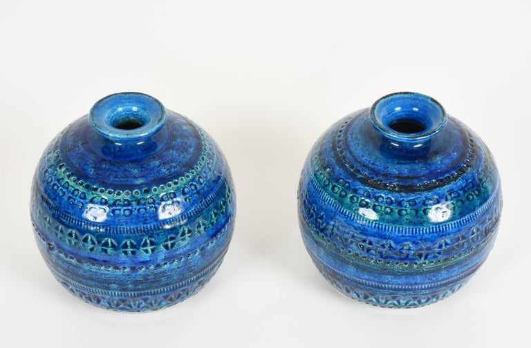 Glazed Pair of Aldo Londi Terracotta Ceramic Rimini Blue Vases for Bitossi, Italy 1960s For Sale