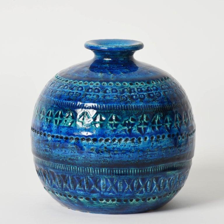 Pair of Aldo Londi Terracotta Ceramic Rimini Blue Vases for Bitossi, Italy 1960s In Good Condition For Sale In Roma, IT