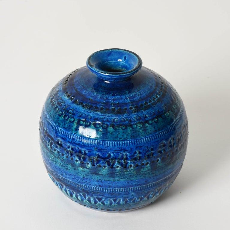20th Century Pair of Aldo Londi Terracotta Ceramic Rimini Blue Vases for Bitossi, Italy 1960s For Sale