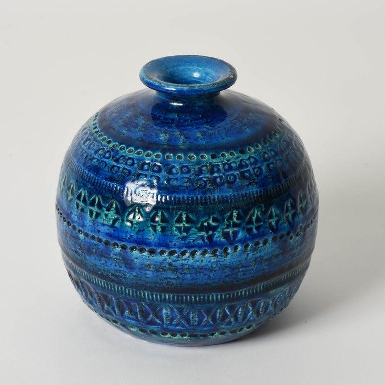 Pair of Aldo Londi Terracotta Ceramic Rimini Blue Vases for Bitossi, Italy 1960s For Sale 1