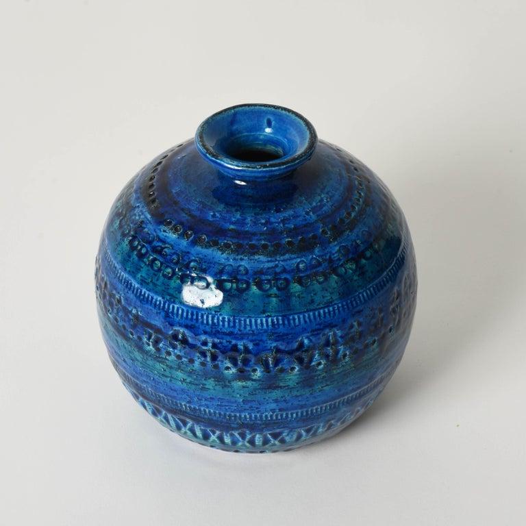 Pair of Aldo Londi Terracotta Ceramic Rimini Blue Vases for Bitossi, Italy 1960s For Sale 2