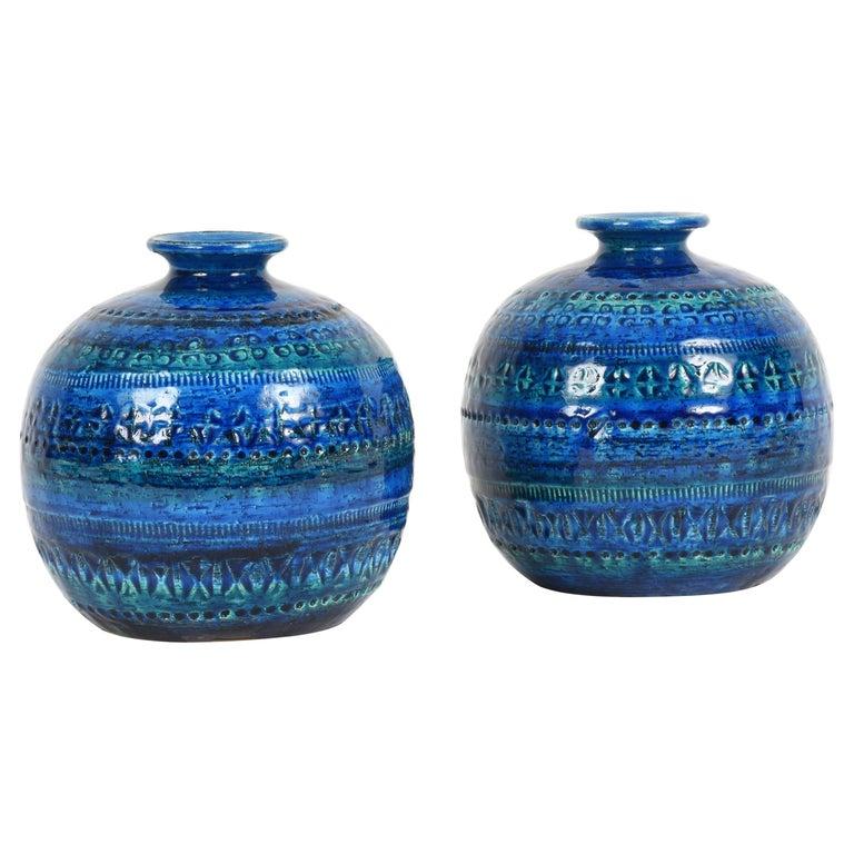 Pair of Aldo Londi Terracotta Ceramic Rimini Blue Vases for Bitossi, Italy 1960s For Sale