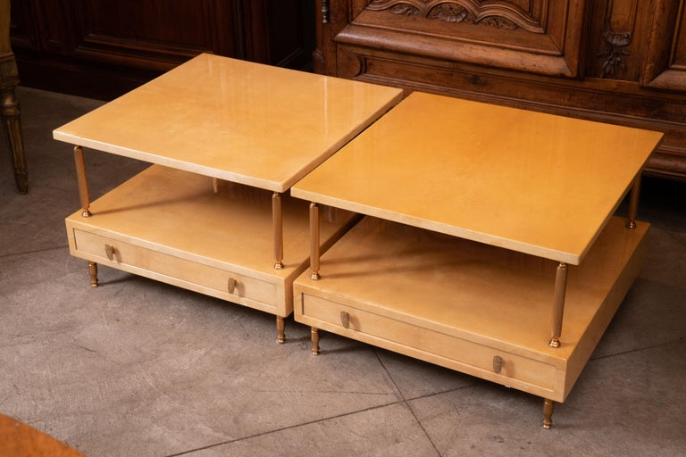 1980s Pair of Aldo Tura Lacquered Tables For Sale