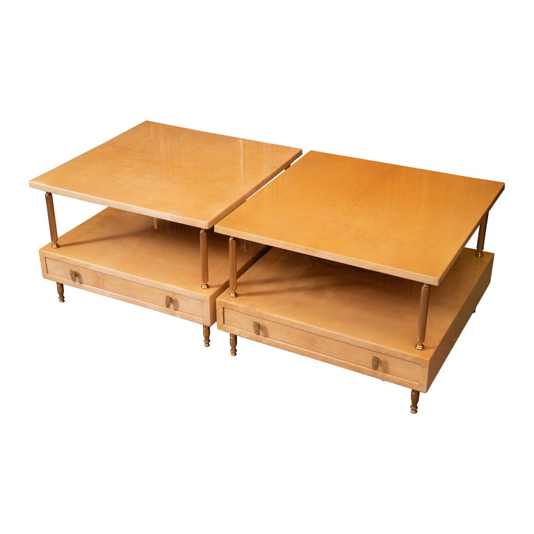 Pair of Aldo Tura Lacquered Tables For Sale