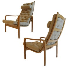 Pair of Alf Svensson for Källemo Bent Plywood Tufted Swedish Lounge Chairs 1960s