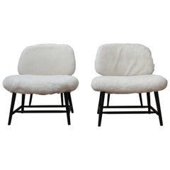 Pair of Alf Svensson 'TeVe' Sheepskin Shearling Lounge Chairs
