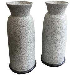 Pair of Alfiero Mangani Granite Finish Ceramic Vases