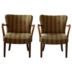 Pair of Alfred Christensen Easy Chairs with Open Armrests in Beech, Denmark 1944