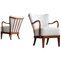 Pair of Alfred Christensen Spindle Back Open Armrest Lounge Chair in Lambswool