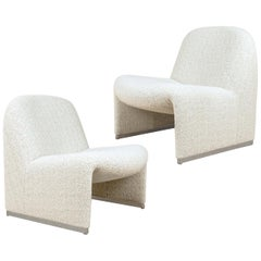 "Pair of ""Alky"" Chairs by G. Piretti for Castelli New Upholstery Boucle by Dedar"