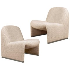Pair of 'Alky' Chairs by G. Piretti for Castelli New Upholstery Boucle by Dedar
