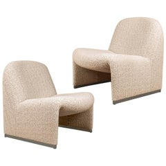 Pair of 'Alky' Chairs by Piretti Boucle Nacre Erose Dedar for Margaret