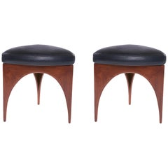 Pair of Allen Ditson Wood and Leather Ottomans
