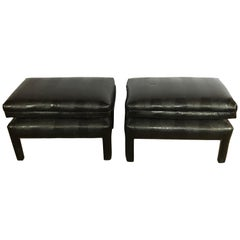 Pair of Alligator or Crocodile Faux Leather Cushioned Foot Stools or Benches