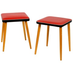 Pair of Almost Mint Midcentury Wooden Stools with Red Faux Leather Cover in Red