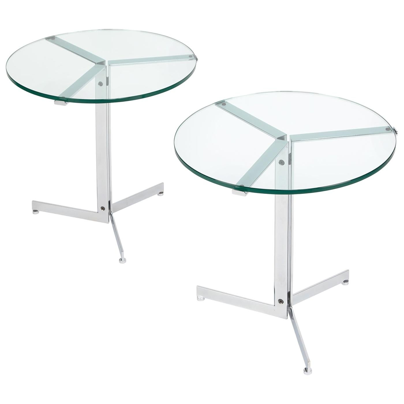 """Pair of """"Alpha"""" Side Tables in Polished Chrome and Glass, 1970s"""