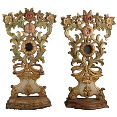 Pair of Altar Pieces in Polychromed Wood Brazil