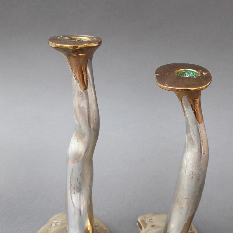 Pair of Aluminium and Brass Candlesticks by David Marshall, 'circa 1970s' For Sale 3
