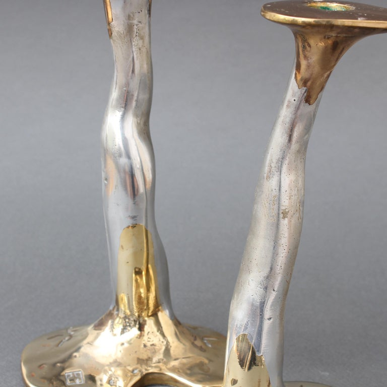 Pair of Aluminium and Brass Candlesticks by David Marshall, 'circa 1970s' For Sale 5
