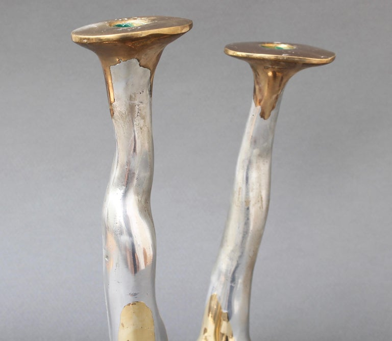 Pair of Aluminium and Brass Candlesticks by David Marshall, 'circa 1970s' For Sale 6