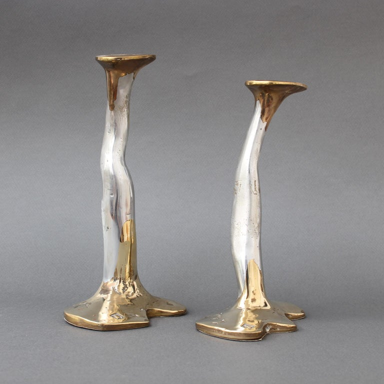 Brutalist Pair of Aluminium and Brass Candlesticks by David Marshall, 'circa 1970s' For Sale