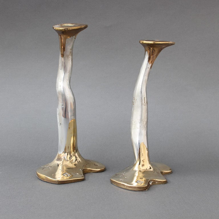 Spanish Pair of Aluminium and Brass Candlesticks by David Marshall, 'circa 1970s' For Sale
