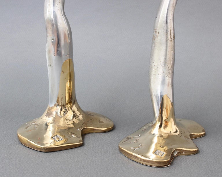 Pair of Aluminium and Brass Candlesticks by David Marshall, 'circa 1970s' In Good Condition For Sale In London, GB