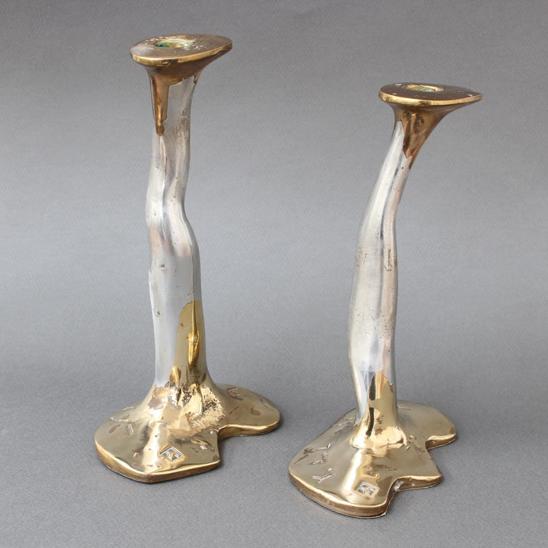 Late 20th Century Pair of Aluminium and Brass Candlesticks by David Marshall, 'circa 1970s' For Sale
