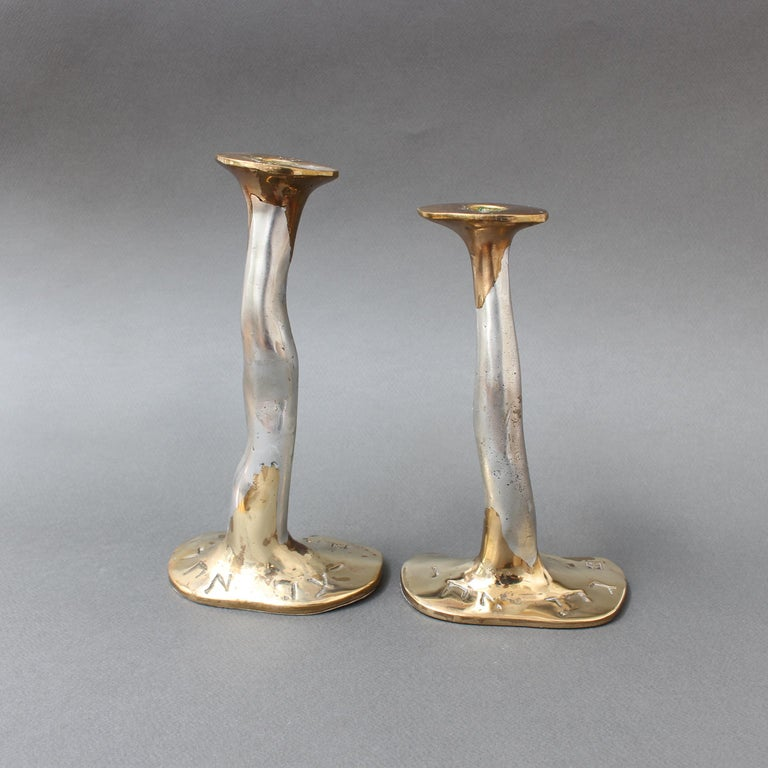 Pair of Aluminium and Brass Candlesticks by David Marshall, 'circa 1970s' For Sale 1