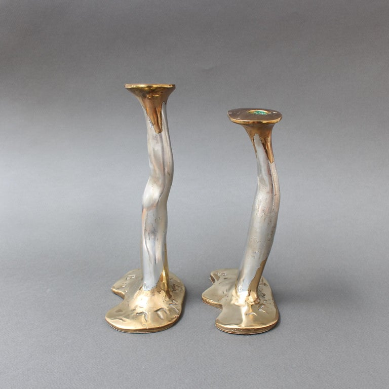 Pair of Aluminium and Brass Candlesticks by David Marshall, 'circa 1970s' For Sale 2