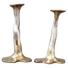Pair of Aluminium and Brass Candlesticks by David Marshall, 'circa 1970s'