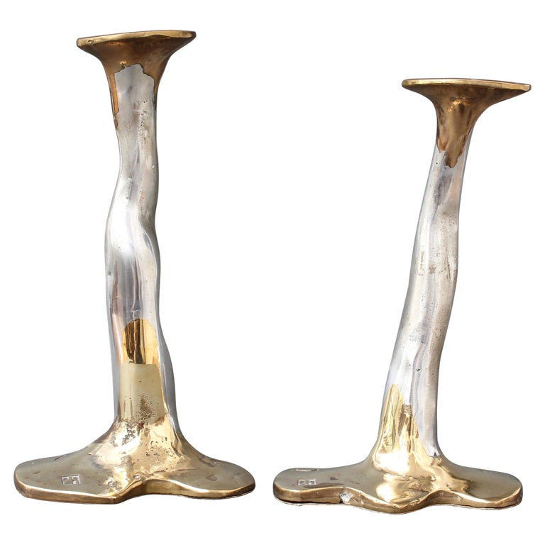 Pair of Aluminium and Brass Candlesticks by David Marshall, 'circa 1970s' For Sale
