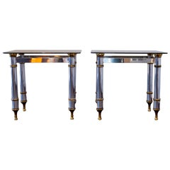 Pair of Aluminium and Brass Console Tables, 1970s