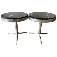Pair of Aluminum and Marble Side Tables