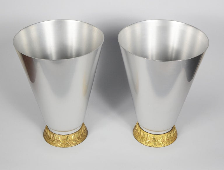 Pair of Marlborough vases designed by Lurelle Guild in 1934 for Kensington Inc. The Kensington Ware line was introduced in 1934 by Alcoa as aluminum alloy giftware and domestic items. It was marketed as having the same advantages of silver, pewter