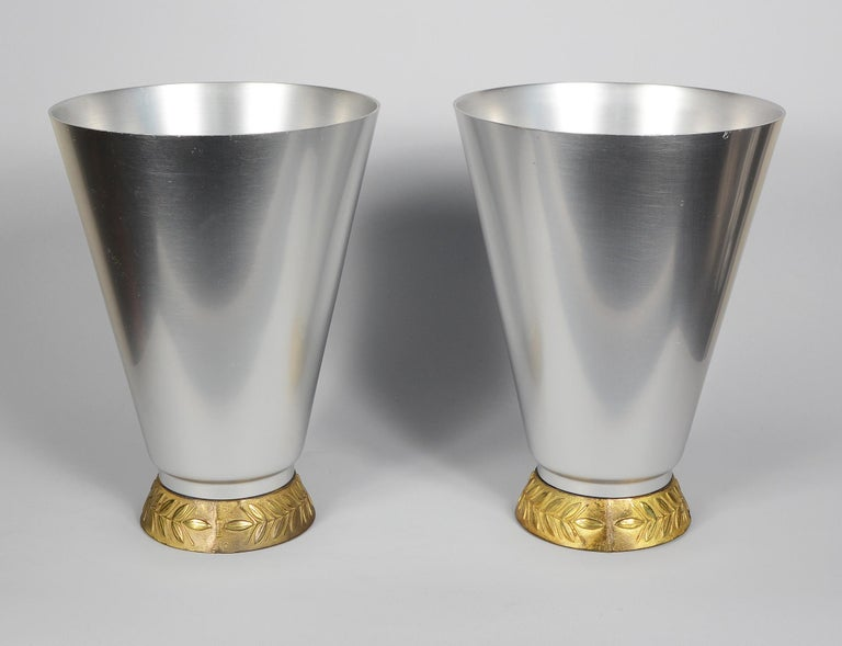 American Pair of Aluminum Art Deco Kensington Marlborough Vases by Lurelle Guild For Sale