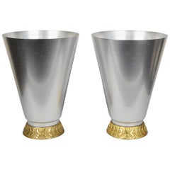 Pair of Aluminum Art Deco Kensington Marlborough Vases by Lurelle Guild