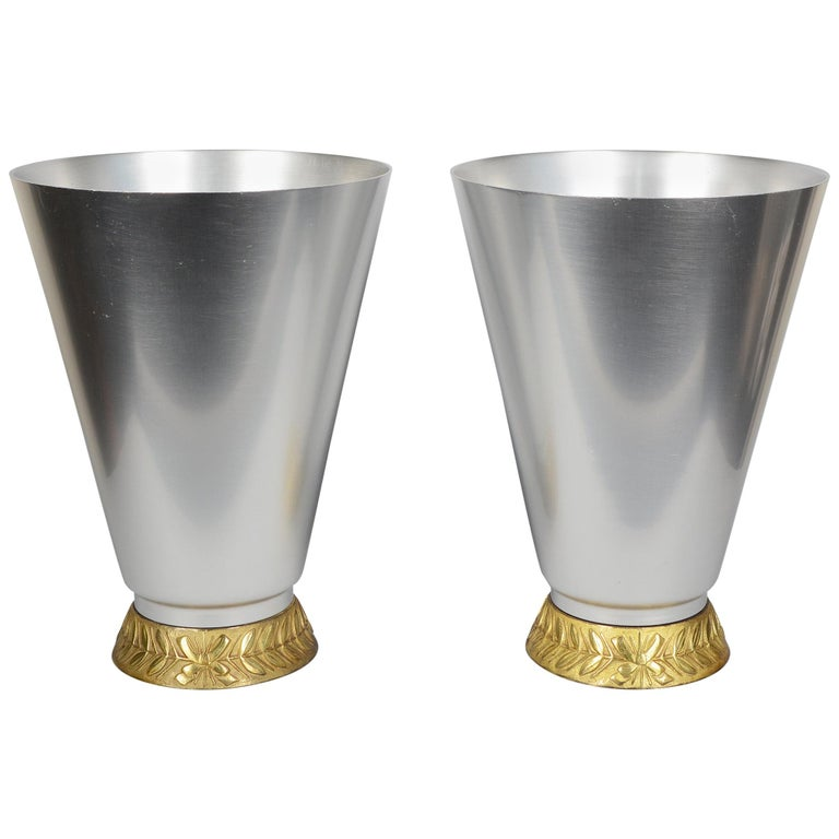 Pair of Aluminum Art Deco Kensington Marlborough Vases by Lurelle Guild For Sale