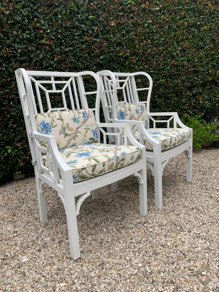 Hand-Crafted Pair of Aluminum Chippendale Style Wingback Chairs with Custom Cushions For Sale