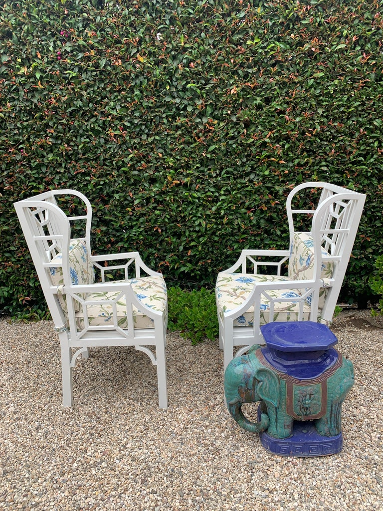 Pair of Aluminum Chippendale Style Wingback Chairs with Custom Cushions In Good Condition For Sale In Los Angeles, CA